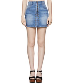 BCBGeneration Cotton Studded Denim Mini Skirt