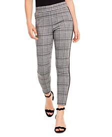 Juniors' Side-Stripe Plaid Skinny Ankle Pants, Created for Macy's