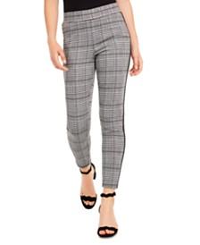 American Rag Juniors' Side-Stripe Plaid Skinny Ankle Pants, Created for Macy's