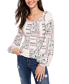 Juniors' Printed Smocked Poet-Sleeved Blouse, Created for Macy's
