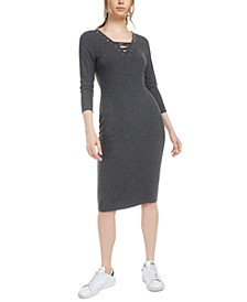Lace-Up Grommet-Neck Ribbed Dress, Created for Macy's
