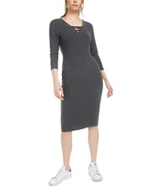 Bar III Lace-Up Grommet-Neck Ribbed Dress, Created for Macy's