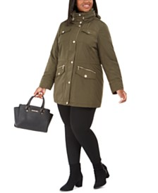 Michael Michael Kors Plus Size Hooded Anorak Raincoat, Created for Macy's