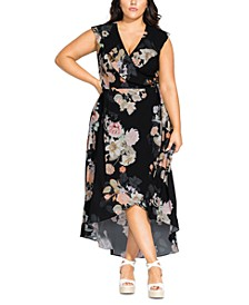 Trendy Plus Size High-Low Maxi Wrap Dress