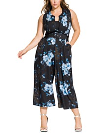 City Chic Trendy Plus Size Bonsai Floral Jumpsuit