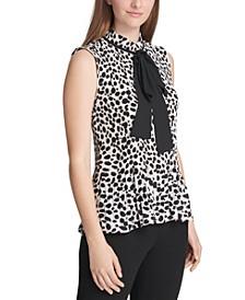 Pleated Animal-Print Tie-Neck Top