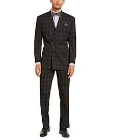 Men's Classic-Fit Stretch Black Plaid Suit Separates