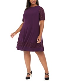 Jessica Howard Plus Size Lace-Sleeve Fit & Flare Dress