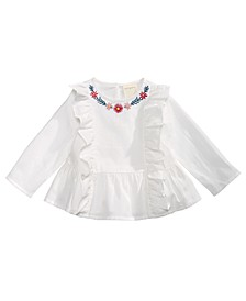 Baby Girls Cotton Embroidered Ruffle-Trim Top, Created for Macy's