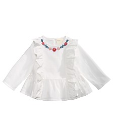First Impressions Baby Girls Cotton Embroidered Ruffle-Trim Top, Created for Macy's