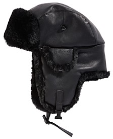 Men's Faux-Leather Trapper Hat