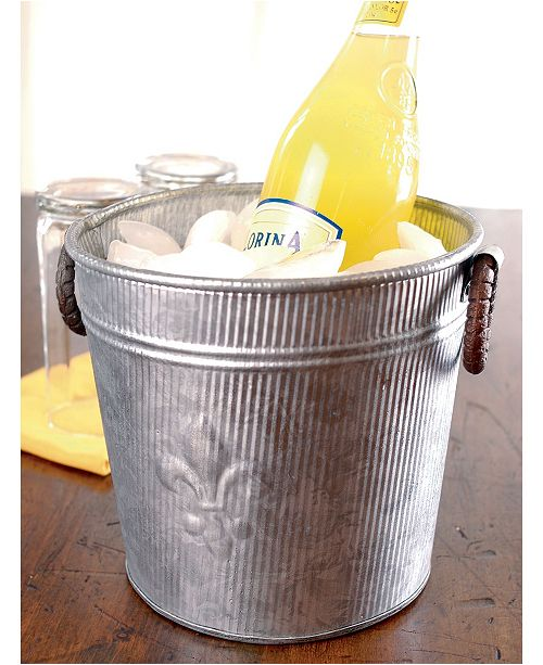 St. Croix KINDWER Galvanized Fleur De Lis Ribbed Bucket