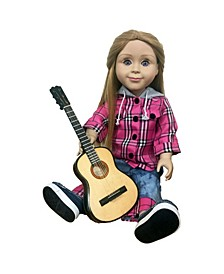 """18"""" Doll Realistic Play Wood Guitar, Acoustic Instrument Accessories"""