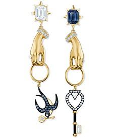 Gold-Tone Crystal Tarot-Inspired Mismatch Drop Earrings