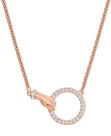 "Rose Gold-Tone Crystal Hand & Ring Choker Necklace, 11-7/8"" + 3"" extender"
