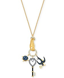 """Gold-Tone Crystal Tarot-Inspired Multi-Charm Pendant Necklace, 31"""" + 3/8"""" extender"""