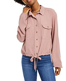 Juniors' Cargo-Pocket Drawstring Top