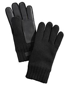 Men's Knit Leather-Patch Tech Gloves