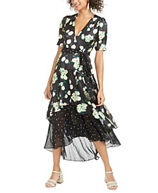 Anemone Mixed-Print Midi Dress