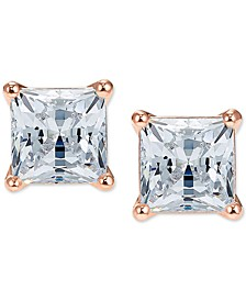 Rose Gold-Tone Cubic Zirconia Square Stud Earrings