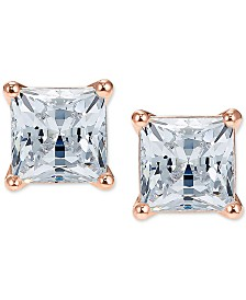 Swarovski Rose Gold-Tone Cubic Zirconia Square Stud Earrings