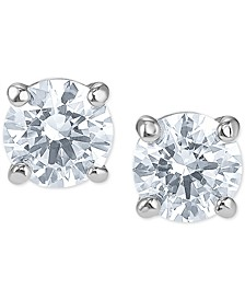 Silver-Tone Cubic Zirconia Stud Earrings