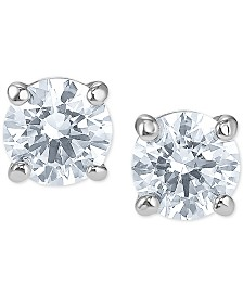 Swarovski Silver-Tone Cubic Zirconia Stud Earrings