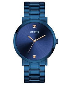 GUESS Men's Diamond-Accent Blue Stainless Steel Bracelet Watch 44mm