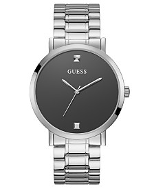 GUESS Men's Diamond-Accent Stainless Steel Bracelet Watch 44mm