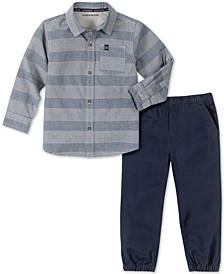 Toddler Boys 2-Pc. Tonal Stripe Chambray Shirt & Twill Jogger Pants Set