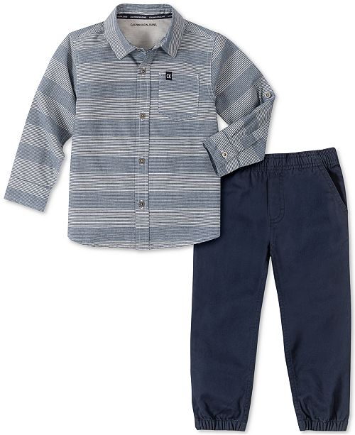 Calvin Klein Toddler Boys 2-Pc. Tonal Stripe Chambray Shirt & Twill Jogger Pants Set
