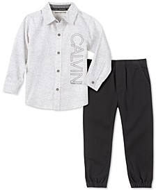 Little Boys 2-Pc. Textured Stripe Logo Shirt & Twill Jogger Pants Set