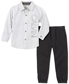 Calvin Klein Jeans Toddler Boys 2-Pc. Textured Stripe Logo Shirt & Twill Jogger Pants Set