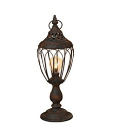 Sterling 17.25-Inch Tall Battery-Operated Antique Black Metal Lantern with LED Light
