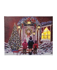 Sterling Fiber Optic, Canvas Holiday Painting of Children Carolers