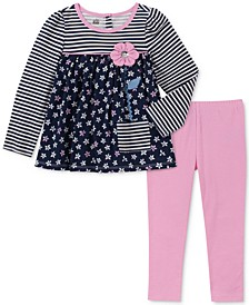 Toddler Girls 2-Pc. Long Sleeve Floral-Print Tunic & Leggings Set
