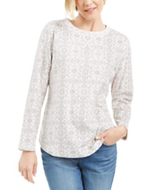 Karen Scott Printed Microfleece Top, Created for Macy's