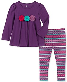 Little Girls Floral Tunic & Printed Leggings Set