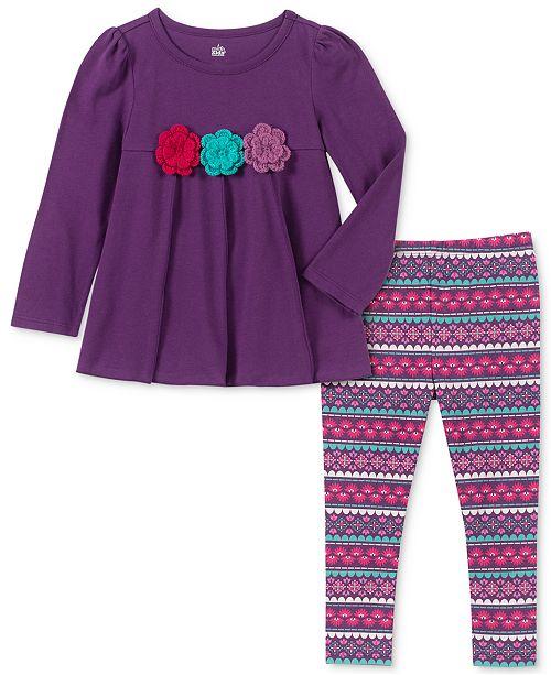 Kids Headquarters Little Girls Floral Tunic & Printed Leggings Set