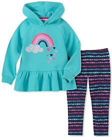 Kids Headquarters Toddler Girls 2-Pc. Fleece Peplum Rainbow Hoodie & Leggings Set