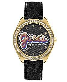 Women's Black Denim Leather Strap Watch 44mm