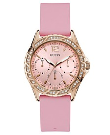 Women's Breast Cancer Awareness Pink Silicone Strap Watch 40mm