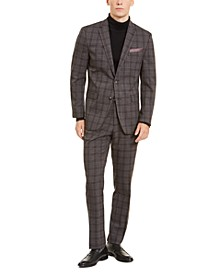 Men's Slim-Fit Stretch Medium Gray Plaid Suit
