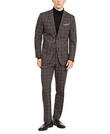 Perry Ellis Men's Slim-Fit Stretch Medium Gray Plaid Suit