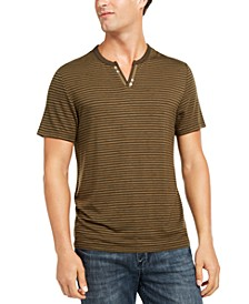 INC Men's Striped Split-Neck T-Shirt, Created for Macy's