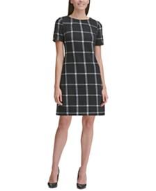 Tommy Hilfiger Windowpane Plaid Shift Dress