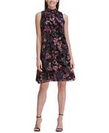 Tommy Hilfiger Petite Mock-Neck Floral Trapeze Dress