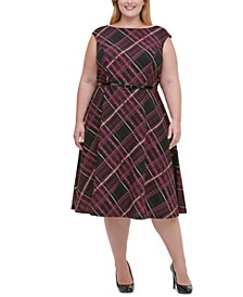 Plus Size Piper-Plaid Fit & Flare Dress