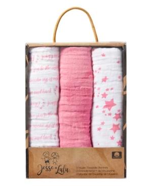 Jesse & Lulu 3 Stories Trading Jesse Lulu Infant 3 Pack Muslin Swaddle Blankets, Galaxy In Pink