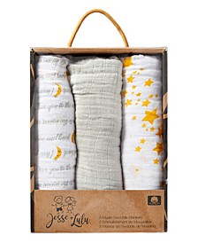 3 Stories Trading Infant 3 Pack Muslin Swaddle Blankets, Galaxy